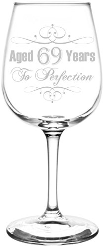 Price comparison product image (69th) Aged To Perfection Elegant & Vintage Birthday Celebration Inspired - Laser Engraved 12.75oz Libbey All-Purpose Wine Taster Glass