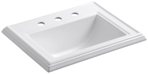 Kohler K-2241-8-0 Vitreous china Drop-In Rectangular Bathroom Sink, 24.25 x 20.63 x 10.13 inches, White