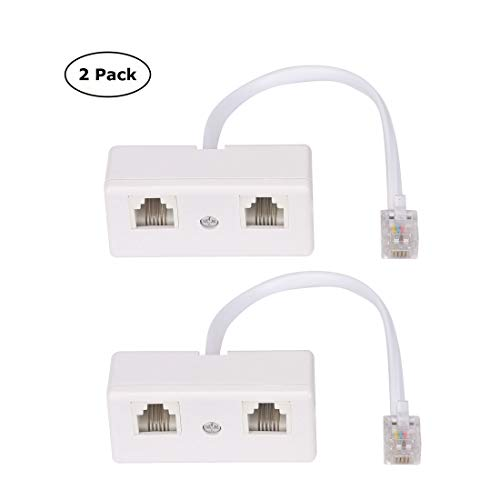 Telephone Splitter, RJ11 6P4C 1 Male to 2 Female Adapter, 2 Way RJ11 US Telephone Plug to RJ11 Socket and Separator for Landline - 2Pack - White