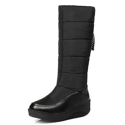 Women's Warm Medium Wedge Heels Platform Faux Fur Lined Down Boots Mid Calf Snow Booties
