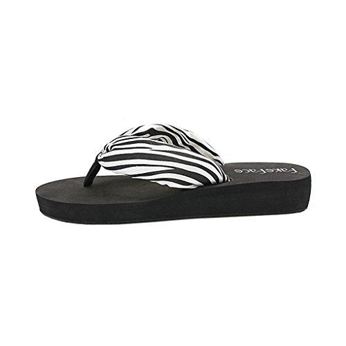 Donna Sandali Infradito Bohémien Ciabatte Da Spiaggia Estive Muli Antiscivolo Tacco Medio Zeppa Sandali Infradito Zebra, Suola Nera