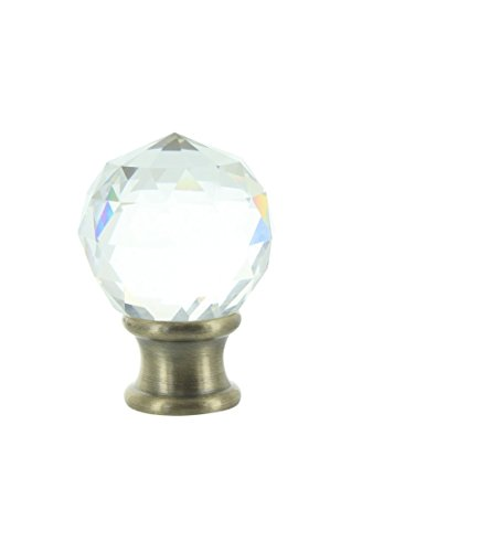 Upgradelights Clear Faceted Crystal Orb Finial with Brass Base