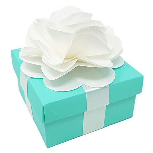Premium Favor Gift Box for Wedding, Bridal Shower, Birthday and All Events, 4x4x2 Size, 10 Count Per Pack (1-Pack, Robin Egg Blue) - Includes White Satin Ribbons & Paper Flower -