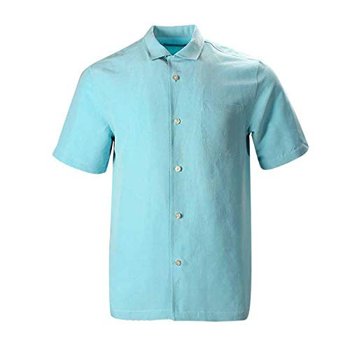 Blue Silk Linen - Havana Breeze Men's Relaxed-Fit Linen Silk Shirt L Lake Blue