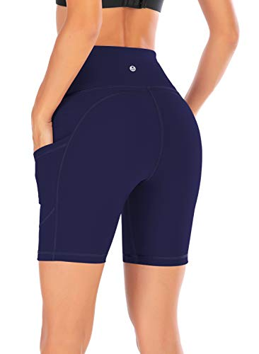 (IUGA High Waist Yoga Pants Shorts with Pockets, Tummy Control, Workout Pants for Women 4 Way Stretch Yoga Leggings with Pockets(7820 Blue S))