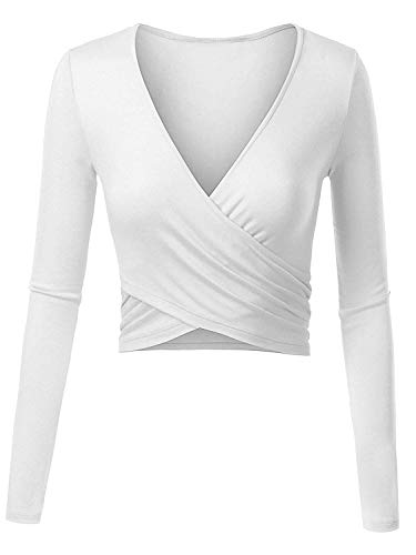 ENIDMIL Women's Deep V Neck Long Sleeve Crop Tops Slim Fit Cross Wrap Bodycon Shirt (White, XS) ()