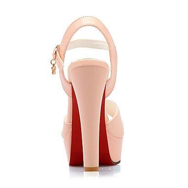LvYuan Mujer Sandalias Pump Básico Cuero Patentado PU Verano Boda Vestido Fiesta y Noche Pump Básico Hebilla Tacón RobustoBlanco Negro Rojo blushing pink