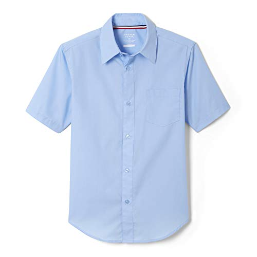 French Toast Big Boys' Short Sleeve Poplin Dress Shirt, Light Blue, 10