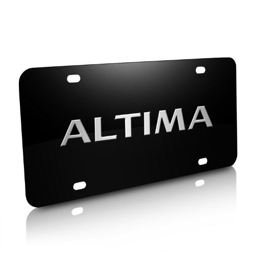 3d Nissan License Stainless Plate (Nissan Altima 3D Black Stainless Steel License Plate)