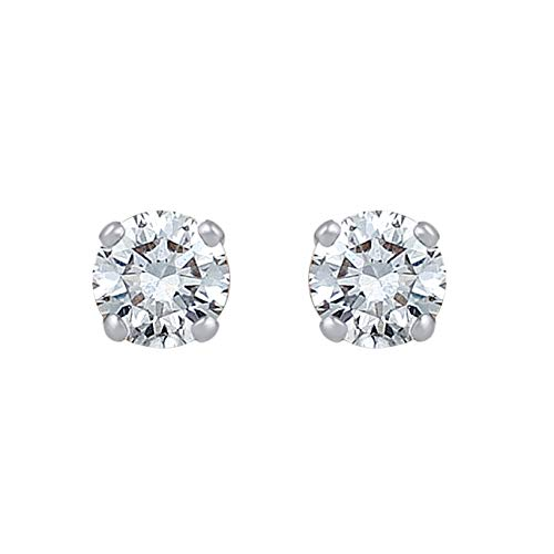 3/8 Carat Natural Diamond Earrings 10K White Gold (H-I Color, I2-I3 Clarity) Classy Solitaire Diamond Earrings for Women Diamond Jewelry Gifts for Women ()