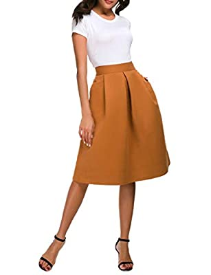 Pytha Sight Women's A-Line High Waist Pleated Corduroy-Like Midi Skirt with Pockets
