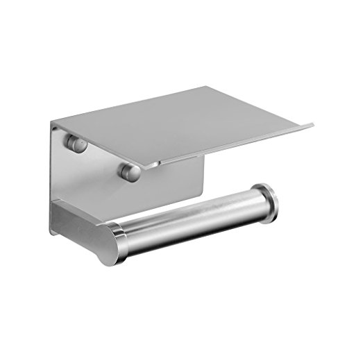 ZH Wall Mounted Self Adhesive Toilet Paper Holder,Stainless Steel 304 Toilet Roll Holder Storage with Phone Holder Stand (Size : A)
