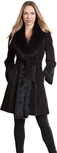 Overland Sheepskin Co Felicity Suede Leather Coat with Fox Fur Trim (Fur Trim Twill Coat)