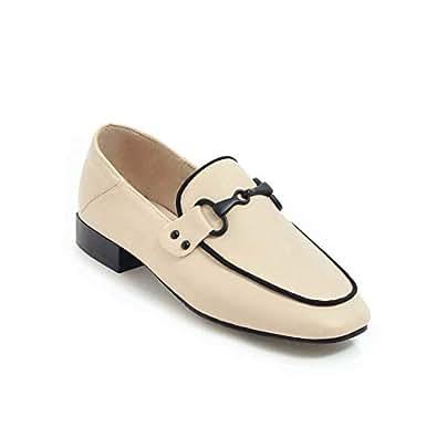 BalaMasa Womens APL12142 Soft-Toe Square-Toe Huarache Beige Pu Block Heels - 2 UK (Lable:33)