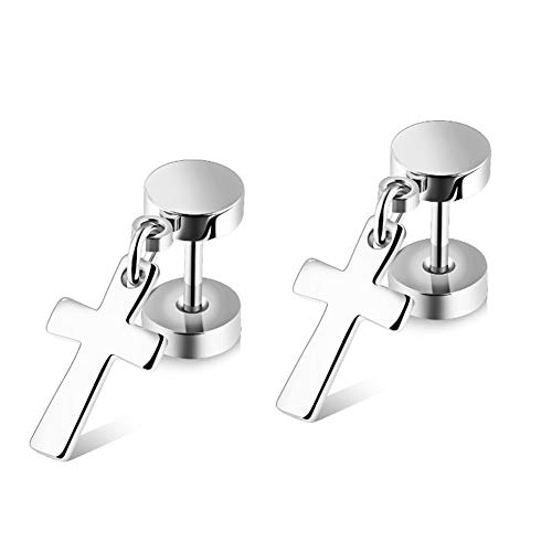 (Chryssa Youree Mens Womens Stainless Steel Jewelry Polished Cross Stud Earrings Set Ear Piercing Plugs Tunnel Punk Style(ED-46) (silver))