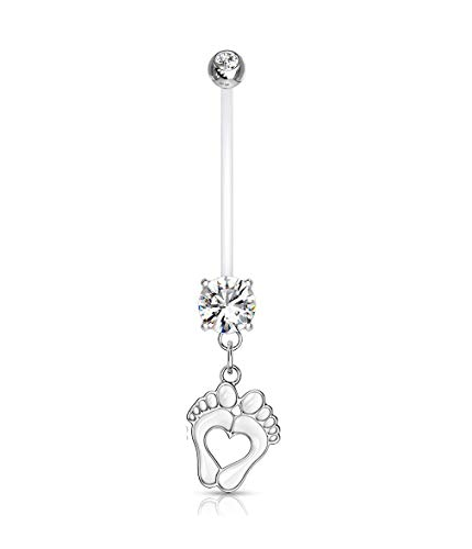 Pierced Owl Double Jeweled Heart Baby Feet Dangle Pregnancy Maternity Belly Button Ring Retainer (White)