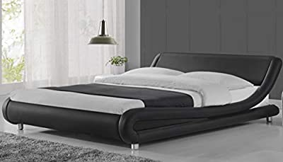 Modern Bed Frame Faux Leather Platform Bed with Headboard