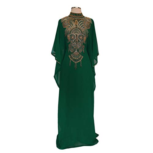 Covered Bliss Elhan Gold Beaded Kaftan for Women ¾ Sleeve - Hidden Belt – Chiffon Dress (Bottle Green, 58)
