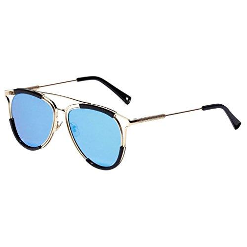 Lunettes Vintage UVA UVB Soleil Polarisées Métallique Sharplace bleu Rétro De argent q06dnwI