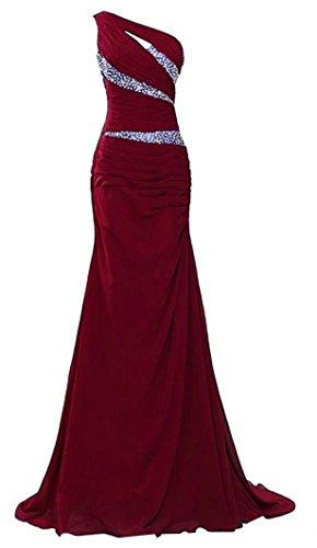 Damen nachschleppend Abendkleid Chiffon Schulter eine Emmani Weinrot dAw4qBdWy