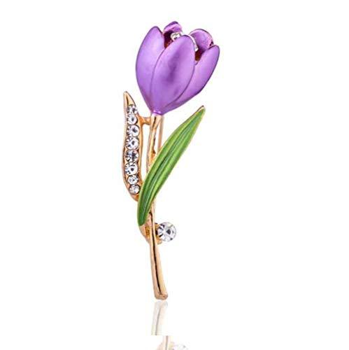 - Daisy Jewelry Women Rose Flower Brooch Pin Rhinestone Rose Gold Brooches Birthday Gift (Purple 02)