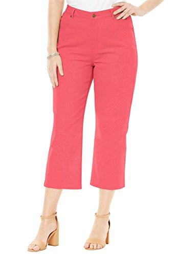 Jessica London Women's Plus Size L-Pocket Denim Capris Coral Rose,18 by Jessica London