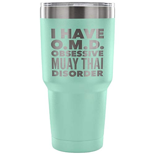 ArtsyMod OMD OBSESSIVE MUAY THAI DISORDER Typography, MuayThai Martial Arts Statement Perfect Funny Gift! Premium Durable Stainless Steel Water Vacuum Tumbler, 30oz. ()