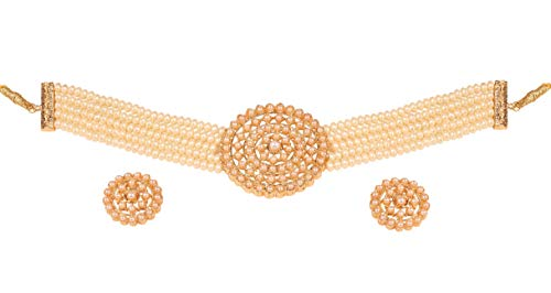 (Touchstone New Indian Bollywood Royal Look Studded Faux Pearls Designer Jewelry Choker Necklace Set in Gold Tone for Women)