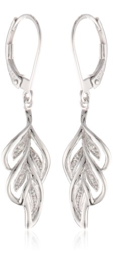 Earrings Leaf Cut Diamond - Sterling Silver Leaf Diamond Earrings (0.02 cttw, I-J Color, I2-I3 Clarity)