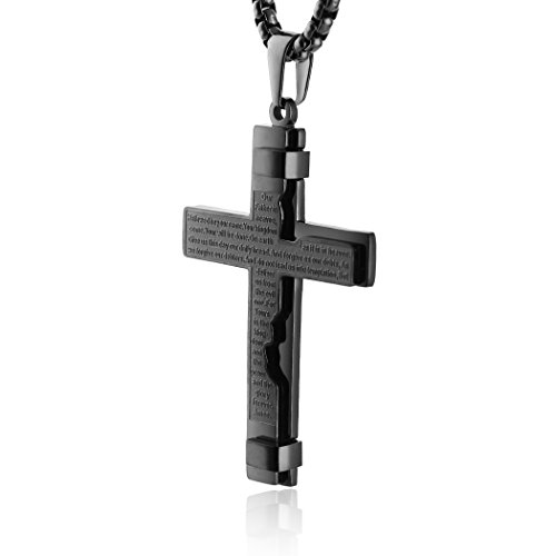HZMAN Religion Cross Lord's Prayer Stainless Steel Pendant Necklace Rolo Cable Wheat Chain (Black) (Rolo Chain Baby)