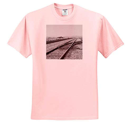 3dRose Jos Fauxtographee- Black and White Train Tracks - The Train Tracks in Black and White in Beryl Utah - T-Shirts - Toddler Light-Pink-T-Shirt (4T) (ts_293677_49)
