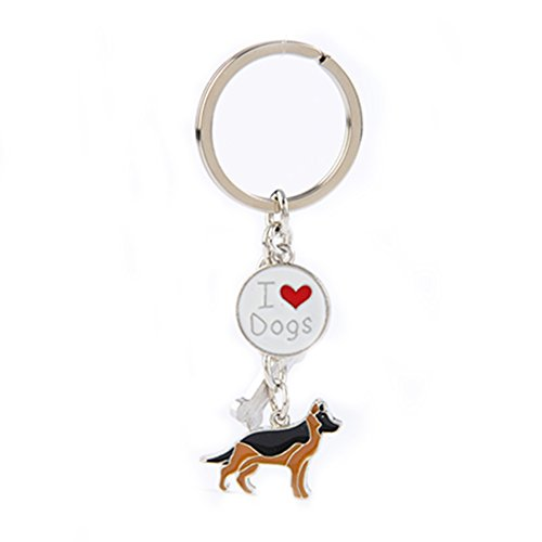 BBEART Dog Keychain ring, Cool Cute Pet Dog Keyring Bag Charm Mini Metal Key Ring Keyfob (German Shepherd ()