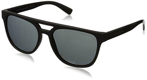 Armani Exchange Men's Injected Man Sunglass 0AX4032 Square Sunglasses, black Matte Transparent/Dark Grey/Transparent, 55 - Armani Sunglasses Mens