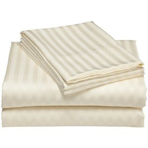 Gentil Damask Stripes Ivory 300 Thread Count Twin Extra Long Size Sheet Set 100 %  Cotton 3pc