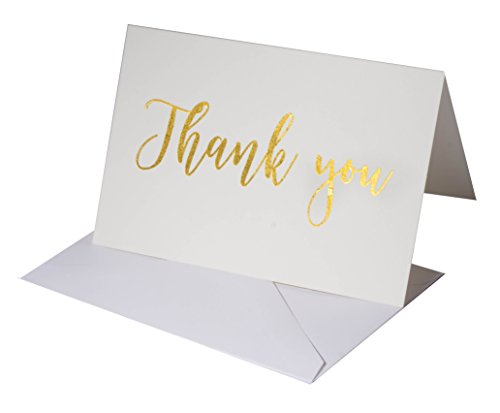 100 Pack Thank You Note Cards Bulk Set Box - Blank - Gold Foil -100 White Paper Envelopes 4 x 6 Inches - Personal and Business use - Bridal and Baby showers by SHEKINAA