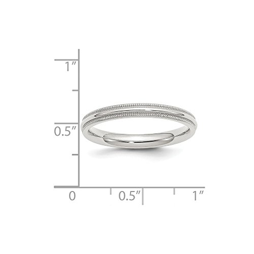 Jewelry Stores Network 3mm Milgrain Comfort Fit Sterling Silver Wedding Band by Jewelry Stores Network (Image #1)