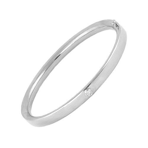 - 5 1/4 Inches 14K White Gold Diamond Bangle Bracelet For Toddler Girls