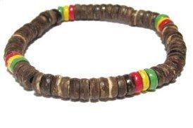 Coconut Coco Bracelets - Rasta Beaded Bracelet Set - Wooden Bracelet - Coco Rasta Reggae Beads - Jamaican Bracelet (Rasta- Brown Bracelet)