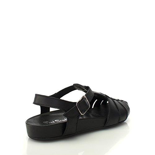 8100 Melrose Leren Vissers Sandaal Op Sleehak Zwart