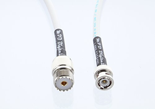 Marine Radio VHF and AIS Antenna Extension Cable SO-239 BNC Mini-8 RG8x UHF Female to BNC Male Connector Made in The U.S.A. 12 Ft
