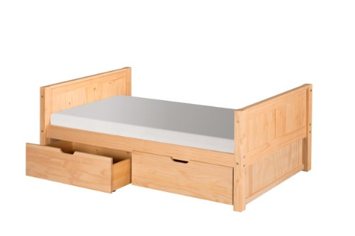 Camaflexi Platform Bed with Drawers and Panel Headboard, Natural Finish