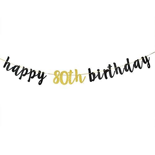 Happy 80th Birthday Banner, Black Glitter 80th Birthday Party Decoration Sign ()