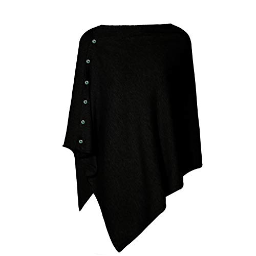 Beetlejuice Cape - PULI Women's Versatile Knitted Scarf with Buttons Light Weight Spring Summer Autumn Shawl Poncho Cape Cardigan, Black