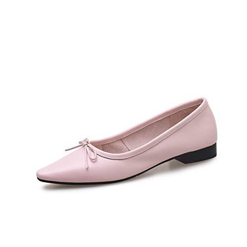 AIMENGA Zapatos Planos Zapatos De Fondo Plano Solos Zapatos De Mujer De Otoño Invierno Nuevos Modelos Cómodos De Fondo Plano Bow Shoes Pink