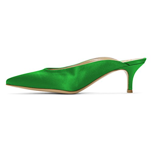Mules Pointed Women Sandals Slide on Kitten Slip Toe YDN stain Pumps Clogs Green Shoes Dressy Heel Low zgx4EHnx