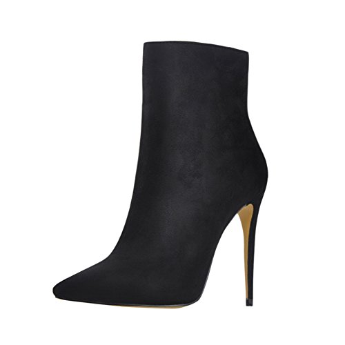 onlymaker Pointed Toe Ankle Boots for Women Side Zipper Dress High Heels Shoes Booties Black
