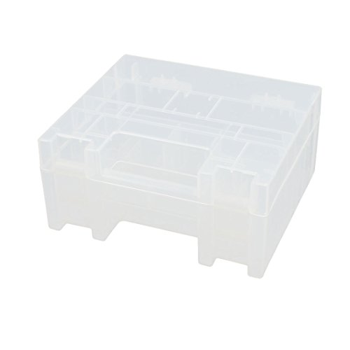 Price comparison product image uxcell Transparent Hard Plastic Battery Case Box Holder Organizer 250mmx165mmx37mm