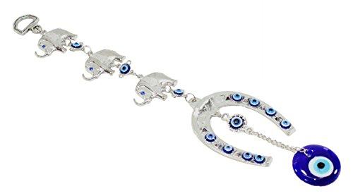 3 Lucky Elephants Horseshoe Turkish Blue Evil Eye (Nazar) Amulet Wall Hanging Protection Home Decor Blessing Gift US ()