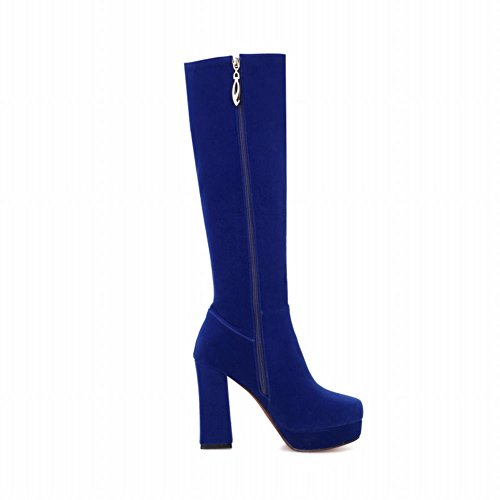 Carolbar Women's Charm Sexy Platform High Heel Long Dress Boots Blue tIv4RsT