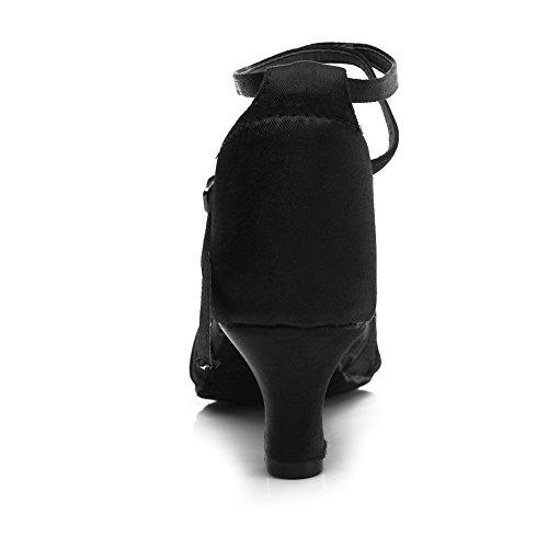 Negro Mujer HIPPOSEUS 5CM ES217 Satén para Latino Altura Zapatillas Modelo Baile 7CM tacón 5cm del de BwwqHZF